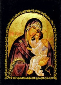 Mother of God, Lovingkindness, large icon. Arched Orthodox icon with a black border.