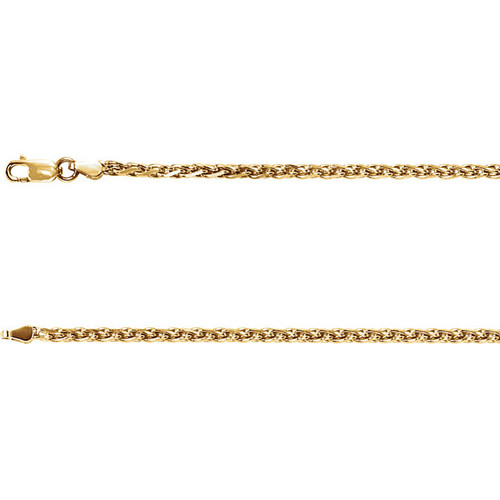 """24"""" 14k Yellow Gold Rolled Wheat Chain, 1.5 mm"""