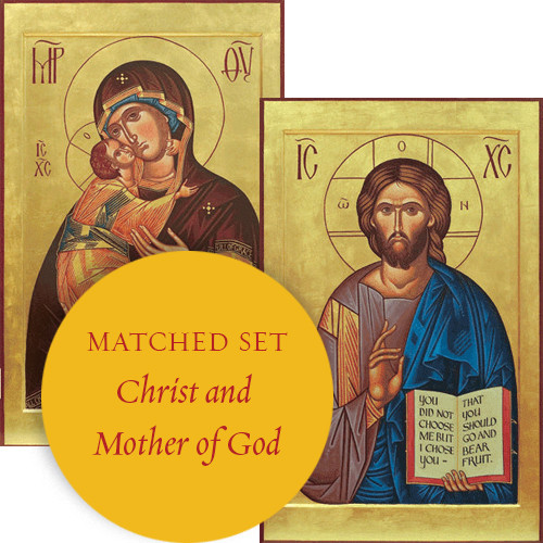 Matching set: Christ Pantocrator & Virgin and Child in Eleousa style, large icons