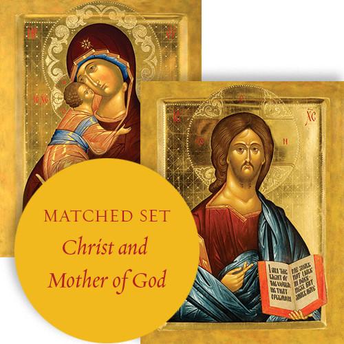 Matching set: Christ Pantocrator & Virgin Lovingkindness, large icons