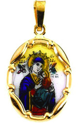 Virgin and Child Pendant, 14k yellow gold and porcelain, small