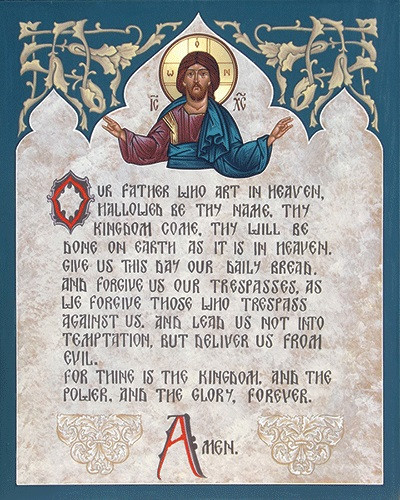 Illuminated Lord's Prayer with Christ, large icon - Ancient Faith ...