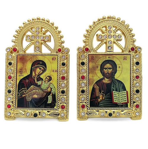 Jewel-Framed Orthodox Icons, matching set of 2. Jesus and Virgin Mary with Christ child