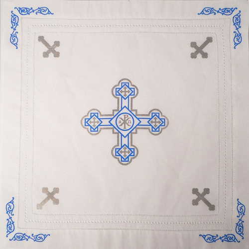 Orthodox Cross Linen, Pascha basket cover / Slava Kolach. Blue and silver design.