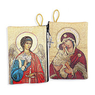 Tapestry pouch, Guardian Angel and Virgin Mary & Child