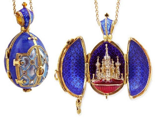 Egg Pendant Locket, Fabergé style with St Basil Cathedral inside, blue