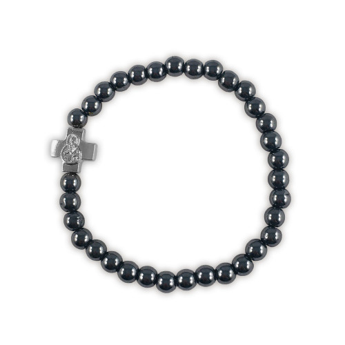 Prayer Bracelet with small silver-tone cross and black hematite beads