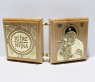 Diptych: Christ and Mother of God, back side featuring a gold-tone ICXC NIKA cross and Virgin and Child icon image