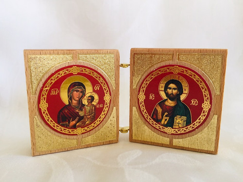 Diptych: Christ and Mother of God, round icons. Inside view.