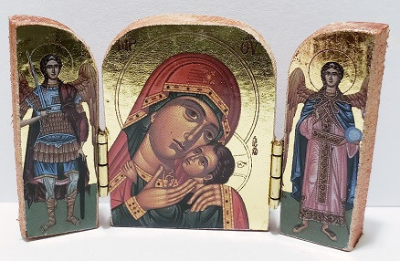 Triptych: Christ and Mother of God with archangels, small icons, variety