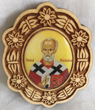 Ornament, Peel n' Stick St Nicholas oval icon on wood. Perfect for a vehicle!
