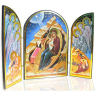 Nativity of Christ with Angels, large icons. Features three angels and a separate scene on each side panel.