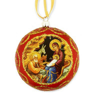 Ornament, Nativity icon on red, Ukrainian