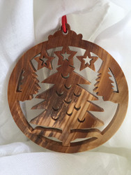 Ornament, olive wood Christmas tree, round