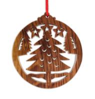 Ornament, olive wood Christmas tree, round