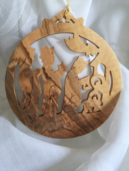 Ornament, olive wood Magi Gifts, round