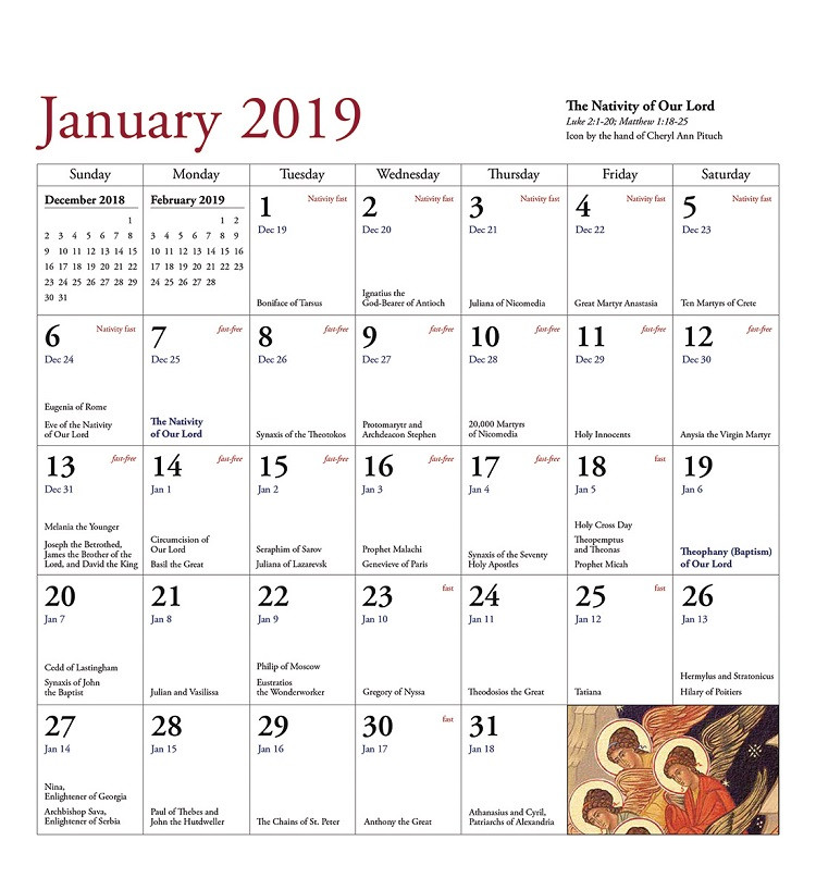 Eastern Orthodox Calendar 2019 2019 Icon Calendar, Icons of Angels and Angelic Visitations