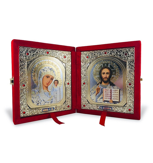 Diptych: Virgin of Kazan and Christ the Teacher, large icons. Gold and silver foiled, decorated with crystal gems, and set in a beautiful red velvet case.