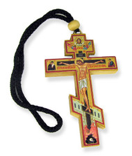 Wood Cross with Crucifixion icon, gold and silver foil enhancements