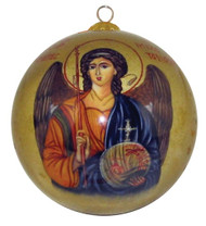 An heirloom-quality, hand painted blown glass Christmas ornament, featuring an icon of Archangel Michael