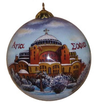 An heirloom-quality, hand painted blown glass Christmas ornament, featuring an icon of Agia Sophia