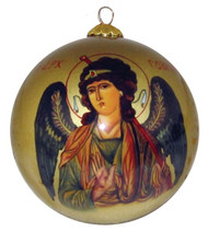 An heirloom-quality, hand painted blown glass Christmas ornament, featuring an icon of Archangel Gabriel