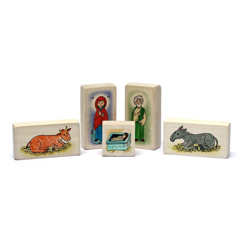Little Saints Nativity Playset A. Includes a fabric storage bag and 5 blocks.