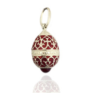 Egg Pendant, Fabergé style with sterling silver central band, red