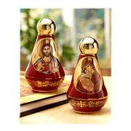 Ceramic Holy Water Bottle (red and gold, 4 inches)