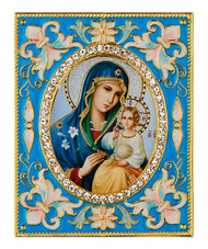 Ornament, Theotokos and Christ Child with stand and chain, blue