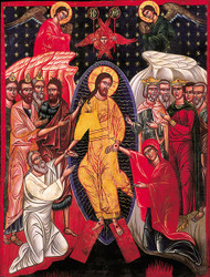 The Harrowing of Hell, large icon. Depicts Jesus' descent into Hades.
