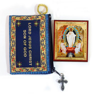 Tapestry pouch, Jesus Prayer, blue with Resurrection mini-icon included