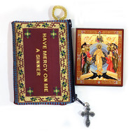 Tapestry pouch, Jesus Prayer, maroon with Descent into Hades mini-icon included
