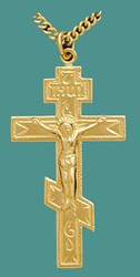 Three-bar Cross with corpus, 14k yellow gold, large
