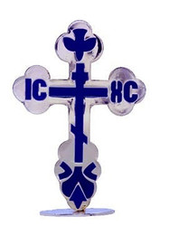 Standing St Xenia Cross, silvertone