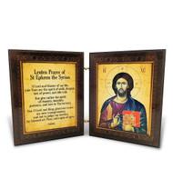 Diptych: St Ephrem Prayer, icons of Christ and St Ephrem