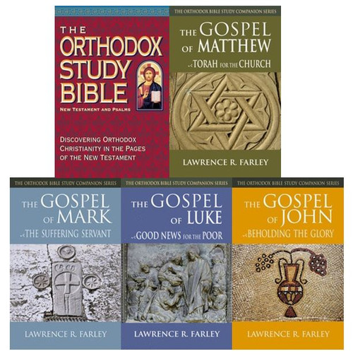 The New Testament Bible Study Set includes The Orthodox Study Bible, New Testament & Psalms and one copy each of Fr. Lawrence Farley's best-selling commentaries on the Synoptic Gospels. A wonderful gift for a high school or college graduate as they continue their journey.