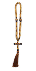Prayer Beads, 70 olive wood beads with cross and tassel
