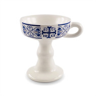 "Ceramic censer, blue and white. Features a cross with ""IC XC NIKA"" and a contemporary floral pattern."