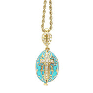 "Egg Pendant Locket, Fabergé style with cross and MOG and angels inside, turquoise, 22"" chain included"