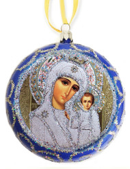 Christmas Ornament, Our Lady of Kazan, blue