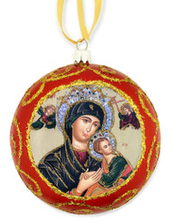 Christmas Ornament, Our Lady of Perpetual Help, red