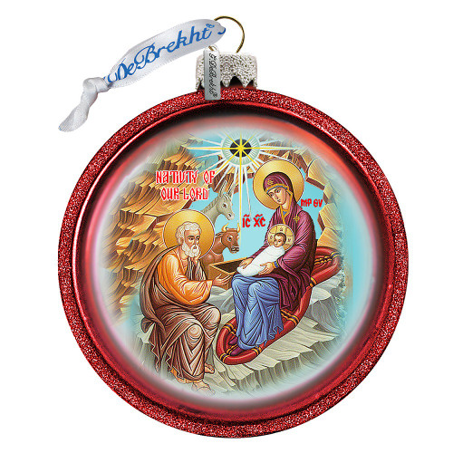 Ornament, Nativity icon, red half-sphere