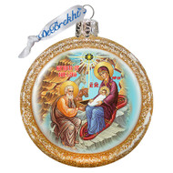 Ornament, Nativity icon, gold half-sphere