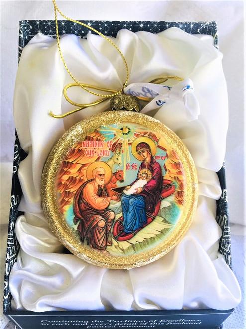Ornament, Nativity icon, gold half-sphere in presentation box