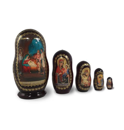 Icon Nesting Dolls, 5pc Nativity Scene