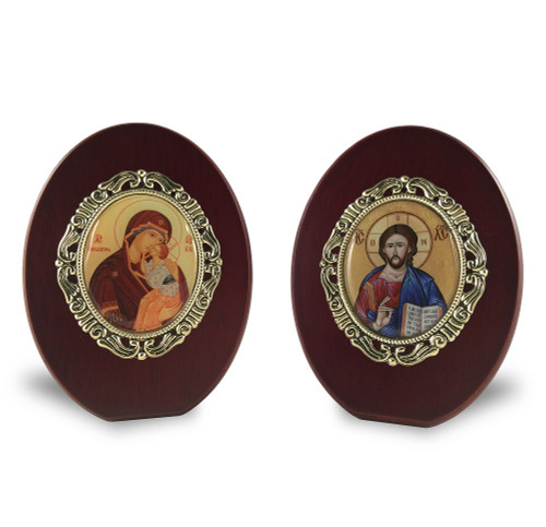 Matching set: Christ the Lightgiver & Virgin and Child, small standing icons