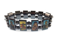 Orthodox icon bracelet, 12 hematite panels