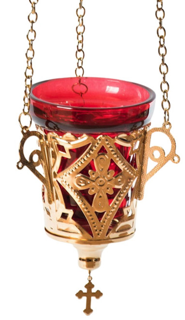 Vigil lamp with red glass, hanging
