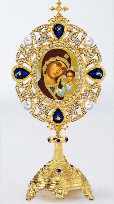 Standing Kazanskaya icon, reliquary-style shrine